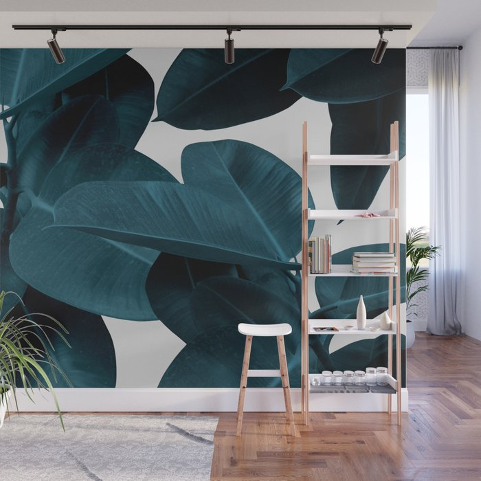 Indigo Plant Leaves Wall Mural