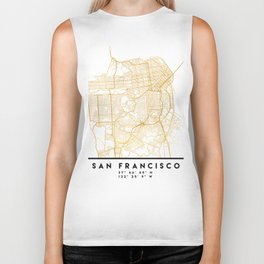 SAN FRANCISCO CALIFORNIA CITY STREET MAP ART Biker Tank