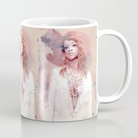 rihanna Mugs featuring Rihanna by Kanelko