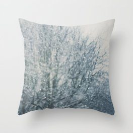 an abstract photograph of a tree & falling sn Throw Pillow