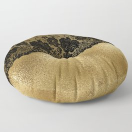 Black luxury lace on gold glitter effect metal- Elegant design Floor Pillow