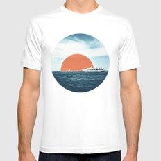 Shipping Sun White MEDIUM Mens Fitted Tee