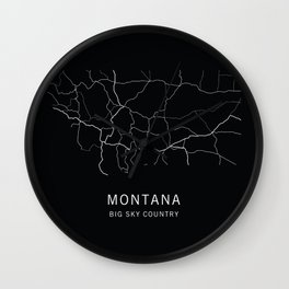 Montana State Road Map Wall Clock