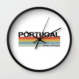 Portuga- Republica Portuguesa Language Vintage Stripes Graphic Wall Clock