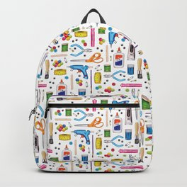 Cute & Crafty - Fun Pattern For Crafters w/ Colorful Craft Supplies Backpack