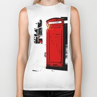telephone Biker Tanks featuring telephone box by Lued