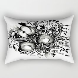 Pen and Ink Drawing --APPLES---Black and white art, wall art Rectangular Pillow