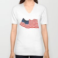 american flag V-neck T-shirts featuring American Flag by George Robinson