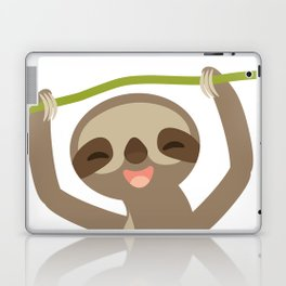 funny and cute smiling Three-toed sloth on green branch Laptop & iPad Skin