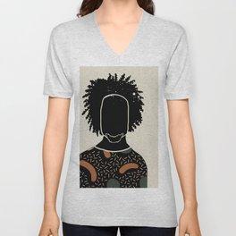 Black Hair No. 9 Unisex V-Neck