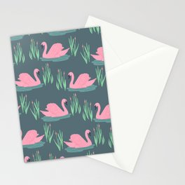 Pink Swans Stationery Cards