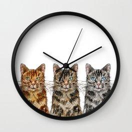 Triple Tabbies Cats Wall Clock