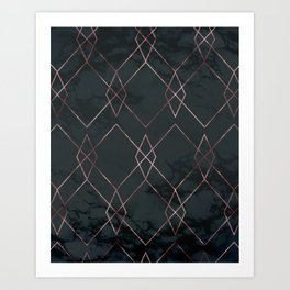 Modern Deco Rose Gold and Marble Geometric Dark Art Print