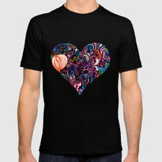 Doodle Heart Mens Fitted Tee Black MEDIUM