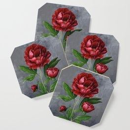 Red Peony Flower Painting Coaster