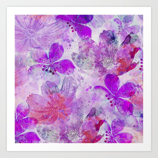 Pink Purple Watercolor Painted Flower Mix Art Print
