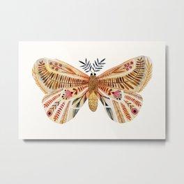 Floral Moth Metal Print