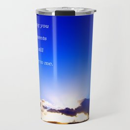 """""""Flickering Sunset"""" with poem: There Are Moments Travel Mug"""