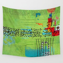 Red and Green Abstract Art Collage Wall Tapestry