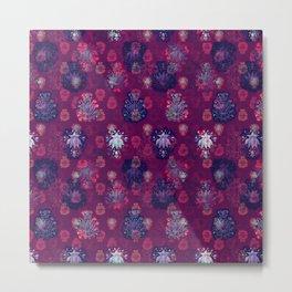 Lotus flower - wine red woodblock print style pattern Metal Print