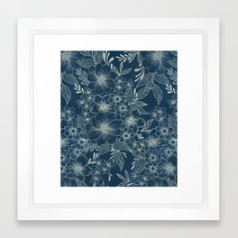 indigo bloom // repeat pattern Framed Art Print