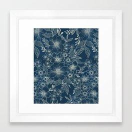 indigo bloom // repeat pattern Framed Art Print
