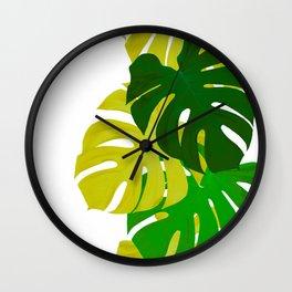 Green Monstera Leaves White Background #decor #society6 #buyart Wall Clock