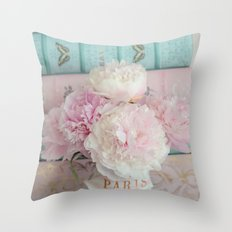 Romantic Peonies Aqua Pink Books Throw Pillow