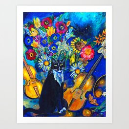 Cat and String Instruments Art Print