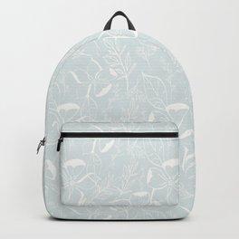Floral Line Art (Pale Blue)- Pattern Backpack