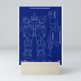 Zaku II Blueprint Mini Art Print