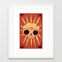 sugar skull Framed Art Prints featuring sugar skull by Yetiland