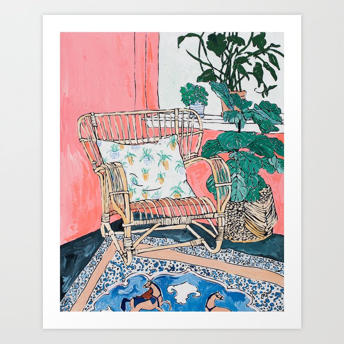 Cane Chair in Pink Interior Art Print