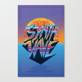 """Outrun 1980s Poster """"Synthwave"""" Text Canvas Print"""
