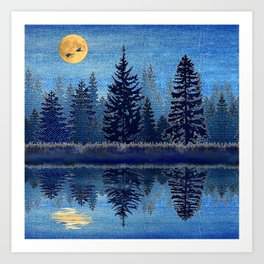 Denim Design Pine Barrens Reflection Art Print
