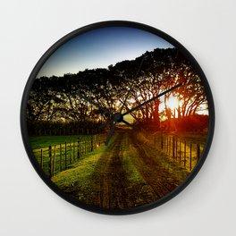 Fenced Sunrise Wall Clock