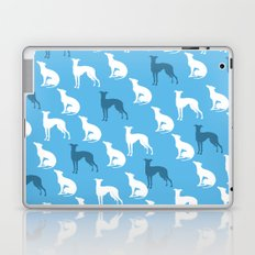 Greyhound Dogs Pattern On Blue Color Laptop & iPad Skin