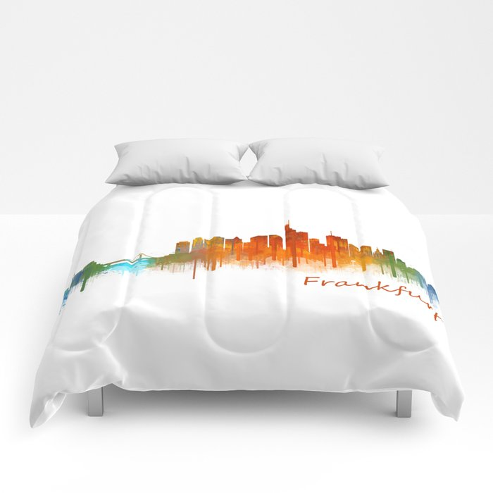 Frankfurt am Main, City Cityscape Skyline watercolor art v2 Comforters