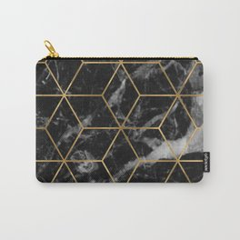 Golden deco black marble geo Carry-All Pouch