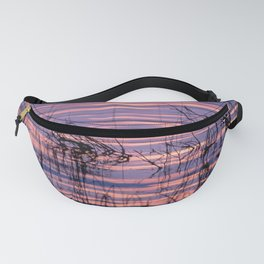 Sunset over the lake Fanny Pack