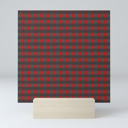 Antiallergenic Hand Knitted Red Grid Winter Wool Pattern - Mix & Match with Simplicty of life Mini Art Print