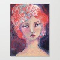 jane davenport Canvas Prints featuring Folie by Jane Davenport ( with logo) by Jane Davenport