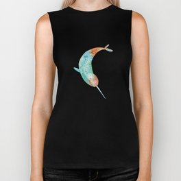Colorful narwhal Biker Tank