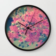 Pink Crape Myrtle Flowers Wall Clock