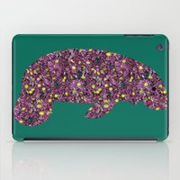 manatee iPad Cases featuring Flower Manatee by Crayle Vanest