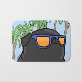 Black pug in California Bath Mat