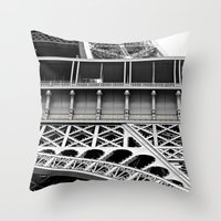 eiffel tower Throw Pillows featuring Eiffel Tower by James Tamim