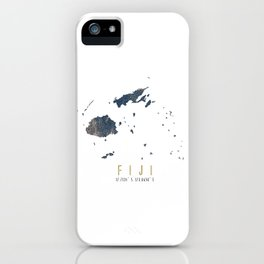 Blue and Gold Map of Fiji iPhone Case