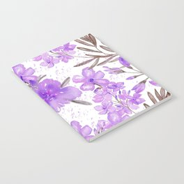 Watercolor lavender lilac brown modern floral Notebook