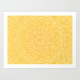 The Most Detailed Intricate Mandala (Mustard Yellow) Maze Zentangle Hand Drawn Popular Trending Art Print